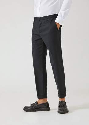 Emporio Armani Trousers In Compact Cotton With Side Zip