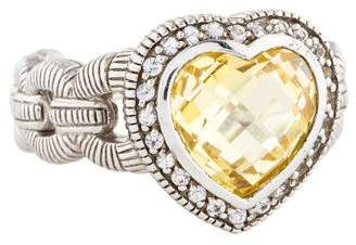 Judith Ripka Canary Crystal & Sapphire Fontaine Heart Ring