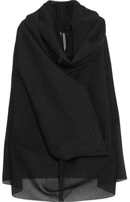 Rick Owens - Pelican Draped Plissé Silk-blend And Buckram Cloth Sweater - Black $1,305 thestylecure.com
