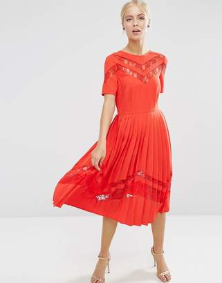 ASOS Premium Pleated Midi Dress with Lace Inserts $91 thestylecure.com