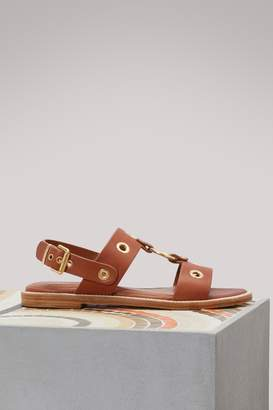 Vanessa Bruno Flat leather sandals with eyelets