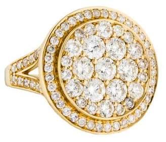 Ring 14K Pavé Diamond Disc Cocktail
