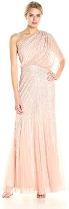 Adrianna Papell Women's One Shoulder Sequin Beaded Blouson Gown