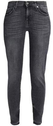 7 For All Mankind Faded Low-Rise Skinny Jeans