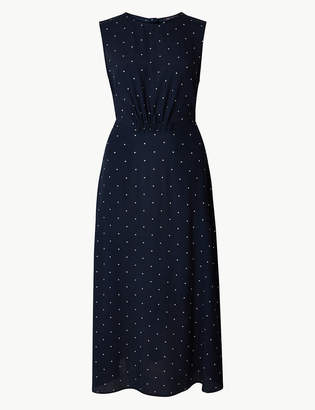 Marks and Spencer Star Print Waisted Midi Dress