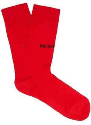 Balenciaga Intarsia Logo Cotton Blend Socks - Womens - Red