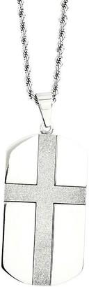 "Steel By Design Men's Cross Dog Tag Pendantw/24""Chain"