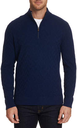 Robert Graham Men's Rowley Textured Wool Quarter-Zip Sweater