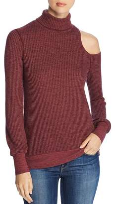 Three Dots Thermal Cold-Shoulder Turtleneck Sweater