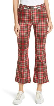Morgan MIAOU Tartan Crop Flare Pants