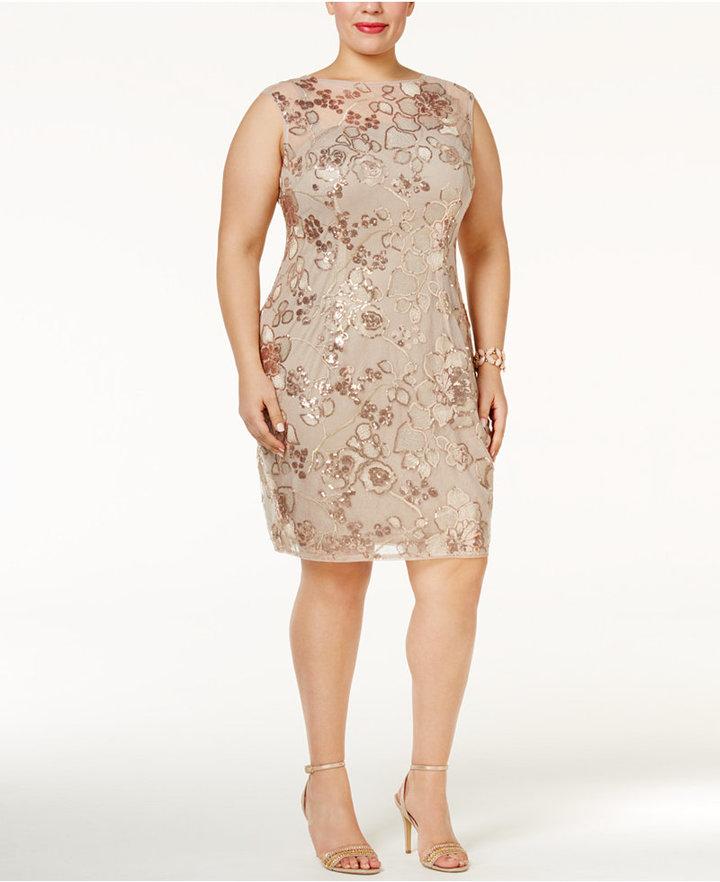 Adrianna PapellAdrianna Papell Plus Size Sequined Illusion Dress