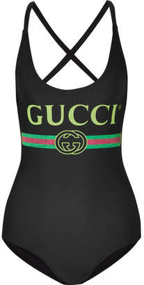 Gucci Printed Swimsuit - Black