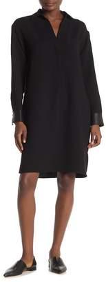 Vince Faux Leather Cuff Shirt Dress