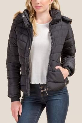francesca's Carlee Faux Fur Lined Parka - Black