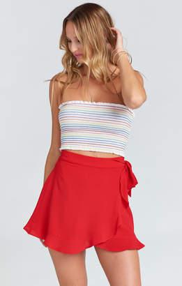 Show Me Your Mumu Roam Ruffle Skirt ~ Tomato Red Pebble