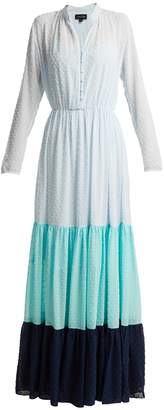 Saloni Alexia dobby-dot tiered chiffon dress