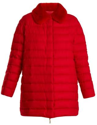 Moncler Gamme Rouge Winnipeg Fur Trimmed Quilted Down Cashmere Coat - Womens - Red