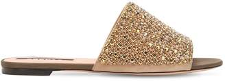Rochas 10mm Crystals Suede Slide Sandals