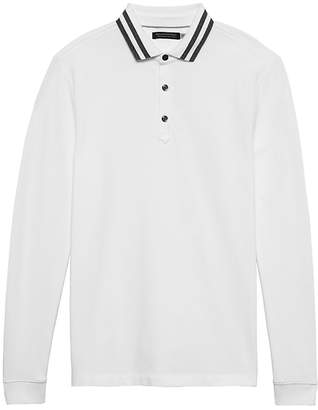Banana Republic Don't-Sweat-It Long-Sleeve Stripe-Collar Polo