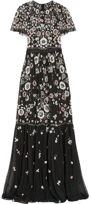 Needle & Thread - Petal Embellished Tulle Gown - Black $485 thestylecure.com