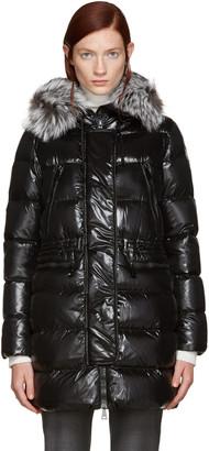 Moncler Black Down Aphroditi Coat $1,895 thestylecure.com