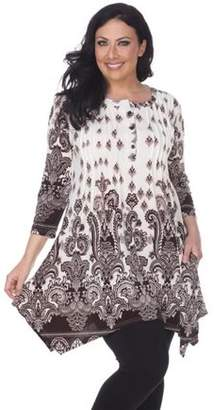 White Mark Women's Plus Size Paisley Print Tunic Top With Pockets