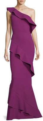 Chiara Boni Tremarine One-Shoulder Trumpet Evening Gown w/ Ruffles