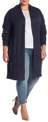 Susina Knee Length Shawl Collar Cardigan (Plus Size)