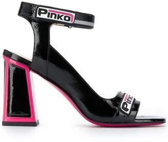 Pinko pink trim block heel sandals