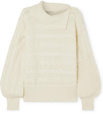 Philosophy di Lorenzo Serafini Asymmetric Cable-knit Sweater - Cream