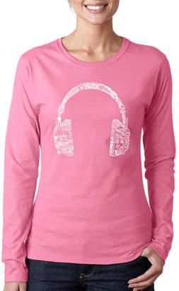 LOS ANGELES POP ART Los Angeles Pop Art Headphones - Languages Long Sleeve Graphic T-Shirt
