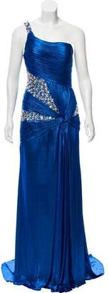 Terani Couture One-Sleeve Embellished Dress w/ Tags