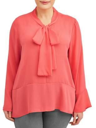 Be Divine Women's Plus Size Tie Front Long Sleeve Blouse