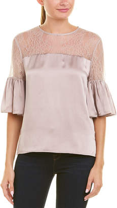CAMI NYC Lace Yoke Silk Blouse