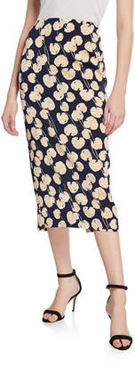 Diane von Furstenberg Tailored Midi Pencil Silk-Blend Skirt