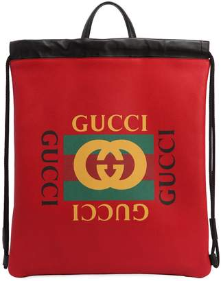Gucci 1980's Print Drawstring Backpack
