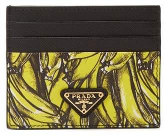 Prada Banana Print Saffiano Leather Card Holder - Womens - Yellow Multi