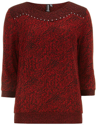 Dorothy Perkins Red textured diamante top