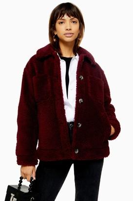 Topshop Burgundy Borg Jacket