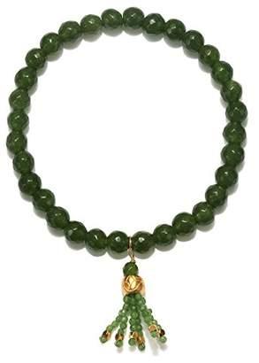 Satya Jewelry Jade Gold Plate Lotus Bead Tassel Stretch Bracelet