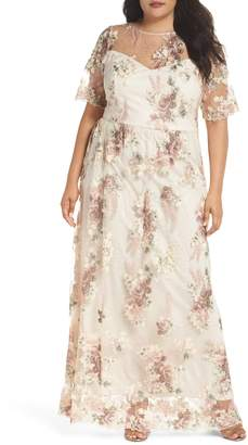 Adrianna Papell Embroidered Gown