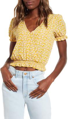One Clothing Floral Print Faux Wrap Front Top