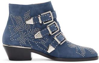 Chloé Blue Suede Susanna Ankle Boots