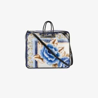 Balenciaga Blue Floral blanket XL Leather tote bag