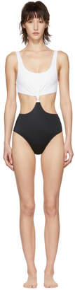 Solid and Striped White and Black The Bailey One-Piece Swimsuit