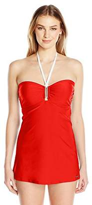Jones New York Women's Hampton Solid Swim Dress One Piece Swimsuit with Power Mesh