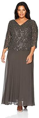 J Kara Women's Plus Size 3/4 Sleeve with Scallop Beaded Pop Over Gown
