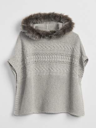 Gap Fur-Trim Hoodie Poncho Sweater