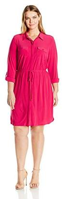 Notations Women's Plus Size Solid 3/4 Sleeve Point Collar Shirt Dress