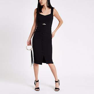 River Island Black button front midi bodycon dress